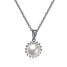 Pearl Diamond Inset Pendant Necklace Black Gun Plated Women Fashion Jewelry
