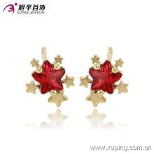 Xuping 14k chapado en oro Charming Star CZ Diamond joyería pendiente Studs -91079