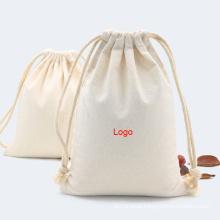 Wholesale custom foldable eco friendly cotton drawstring pouch bag printing canvas drawstring bag
