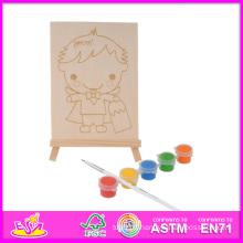 2014 nouveau jeu enfants en bois peint jouet, populaire bricolage enfants en bois Paingting jouet, éducatif bébé jouet peinture ensemble W03A047