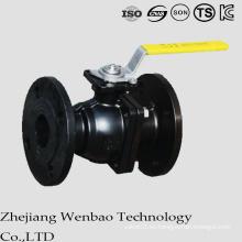 Válvula de bola flotante bridada del acero de carbono de JIS 2PC con la plataforma