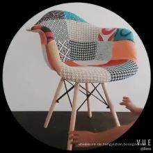 Chinesisches gepolstertes buntes Gewebe-hölzernes Bein-modernes Patchwork-Café, das Stuhl speist