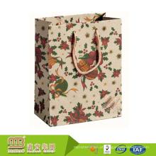 Costume relativo à promoção luxuoso por atacado da compra seu próprio saco de papel de embalagem de Kraft do logotipo com punho da corda