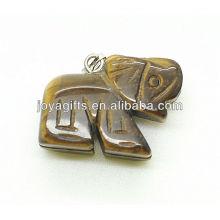 Alta Qualidade Natural Tiger Eye Elephant Pingente Pingente de Pedra Preciosa Semi