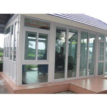Double Glass with Grid White Colour UPVC Profile Sliding Window