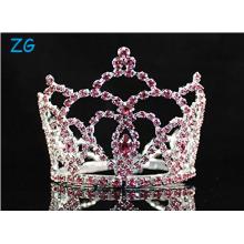 Mini Heart Pink Austrian Rhinestone Crystal Full Hair Crown Tiara Bridal