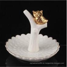 Titular de anel de guardanapo de cerâmica decorativa bonito Animal coruja em forma