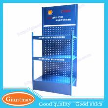Popular diseño de metal pegboard esencial de aceite de motor stand de pantalla para 4S tienda