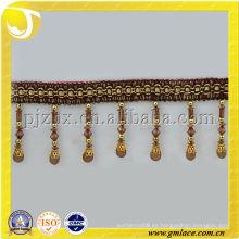 Marrón perlas borla franja de alta calidad de la cortina de corte con forma de cilindro