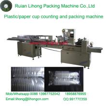Lh-450 Copo de plástico descartável de dupla linha contando e máquina de empacotamento