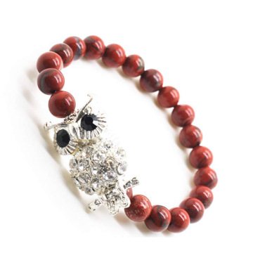 Red Jasper 8MM Round Beads Stretch Gemstone Bracelet with Diamante alloy Owl Piece