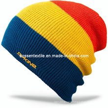 Customized Embroidered Ski Hat Flip Beanie Hat Acrylic Ribbed Boy Snow Knit Cap