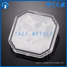 изготовленное на заказ изготовление металла гидравлическим давлением серебряная монета