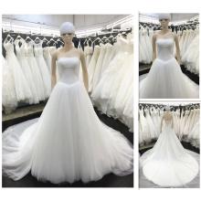 Modische Elfenbein Brautkleider 2016 trägerlosen vestidos de Noivas Plus Size Prinzessin V-Taille Brautkleid Real Picture A010