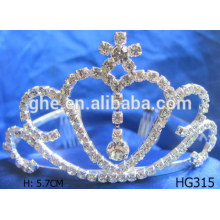 Coroa de tiara de festa de diamantes de prata de diamante de strass tiara princesa rosa tiara de princesa
