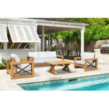 4pcs kayu jati seperti set sofa patio aluminium