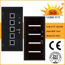 MDF Panel Steel Puerta blindada de madera con tiras de aluminio (SC-A207)