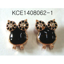 Owl Metal Plated Black Earrings
