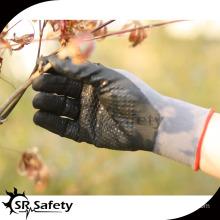 grey nylon fabric glove coated black nitrile gloves