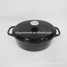 Atacado Restaurante Panelas Black esmalte oval ferro fundido caçarola / panelas / panela / wok