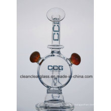 Ccg Self-Branded New Glass Water Pipe Smoking Pipe with Honeycomb Perc and 2 Flowers Marbles