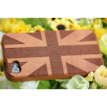 Tampa clássica do iPhone da madeira da bandeira inglesa