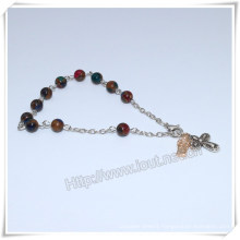 New Colourful Stone Beads Catholic Rosary Bracelet on Chain (IO-CB181)