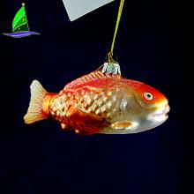 Decoración del hogar estilo de los pescados que cuelgan adornos artesanales de vidrio