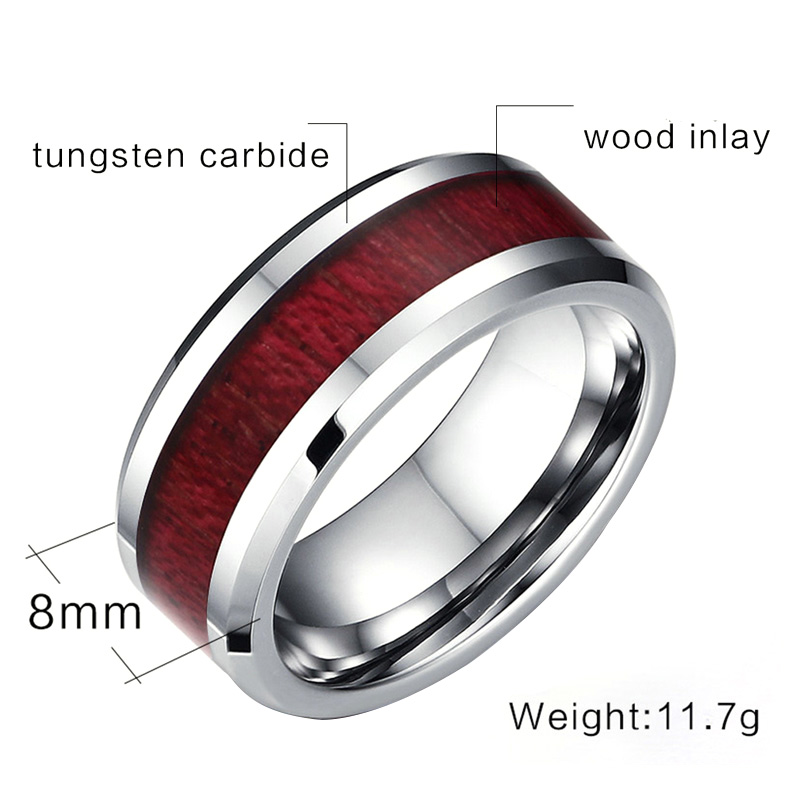 mens tungsten wood ring