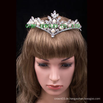 Perlenrhinestone-Tiara-Festzug-Kristallkrone