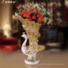 Resin wedding centerpieces peacock shape flower vases qualified big polyresin peacock flower vase