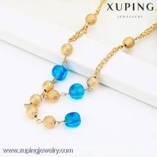 42426 Xuping Artificial Gold Bead Necklace Joyería de imitación, collar largo de perlas