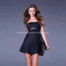 Youthful and Chic A-line Strapless Chiffon Beading Sexy Mini Cocktail Dress