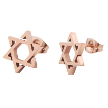 Fashion Rose Gold Stainless Steel Star Shape Cutting Stud Earrings  For Women