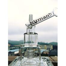 8 polegadas de altura da plataforma de petróleo Tubo de vidro Hitman Tubo de vidro de qualidade Tubo de vidro de fumar Hammer cabeça bolo DAB Rigs bolo Waterpipe com Birdcage Percolator