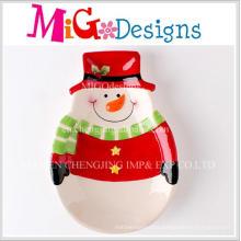 Christmas Gift Table Household Ceramic Snowman Design Plate