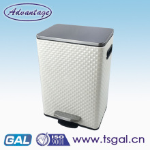 Foot pedal household dustbin with leather