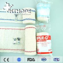 Estiramento de bandagem de crepe branco elástico natural médico