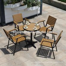 Wholesale garden furniture plastic wood aluminum frame dining set wood backyard furniture