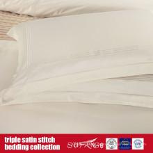 Triple Satinstich Bettwäsche-Set Klassisches Design Elfenbein