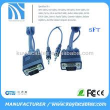 5 FT VGA CABLE 3.5MM SVGA UXGA Monitor cable with 3.5mm Audio