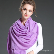 Women in Winter to Keep Warm Plain Purple   Polyester Scarf Shawl