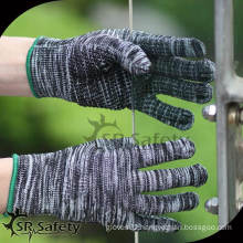 SRSafety cheapest dotted hand gloves/working glove/cotton gloves,7G brown and bleached