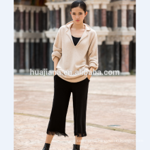 Relax style woman's cashmere thick knitting sweater