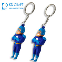 High quality no minimum personalized custom silicone rubber keyring cartoon 3d soft pvc keychain for promotion