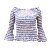 Ladies' Autumn New Arrival Slim Yarn Dye Butterfly Sleeve Strapless Blouse Off Shoulder Tops