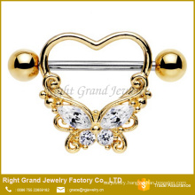 Heart Butterfly CZ Gems 316L Surgical Steel Gold Plated Nipple Ring