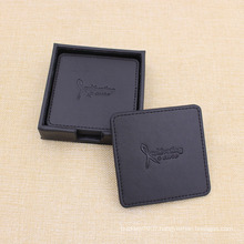 Tapis de tasse de PU de cuir de logo / texte faits sur commande de compagnie de Zhongshan Chine