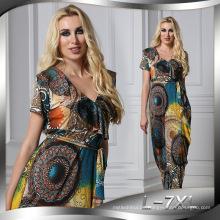 Mode gedruckt Premium Spandex Polyester gedruckt neue Maxi Mode Dame sexy Kleid