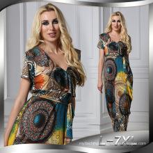Fashion printed Premium spandex polyester printed new maxi fashion lady sexy dress